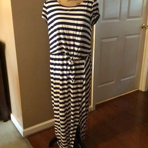 Adorable navy and white striped maxi dress.